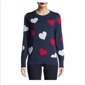 Navy with red white heart nwt crew neck sweater